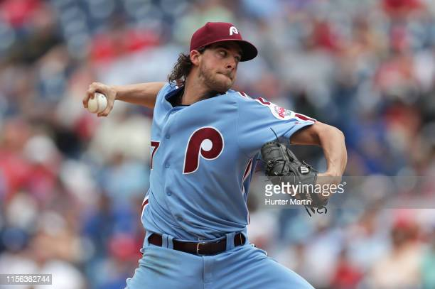 Starting pitcher Aaron Nola of the Philadelphia Phillies throws a pitch in the second inning during a game against the Los Angeles Dodgers at...