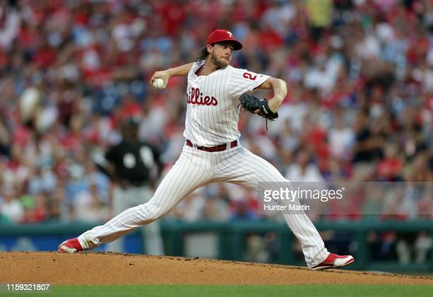 Starting pitcher Aaron Nola of the Philadelphia Phillies throws a pitch in the second inning during a game against the Chicago White Sox at Citizens...