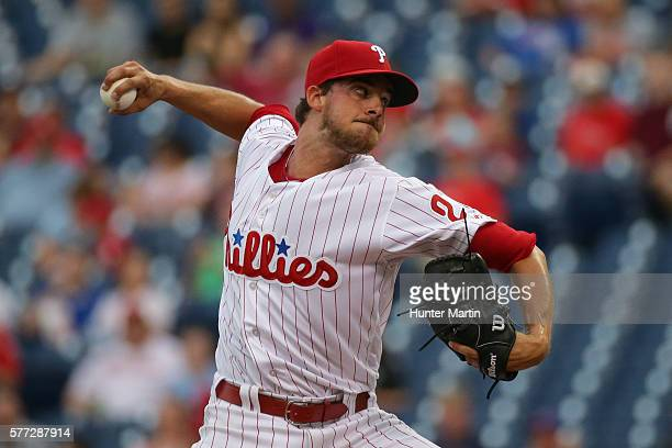 Starting pitcher Aaron Nola of the Philadelphia Phillies throws a pitch in the first inning during a game against the Miami Marlins at Citizens Bank...