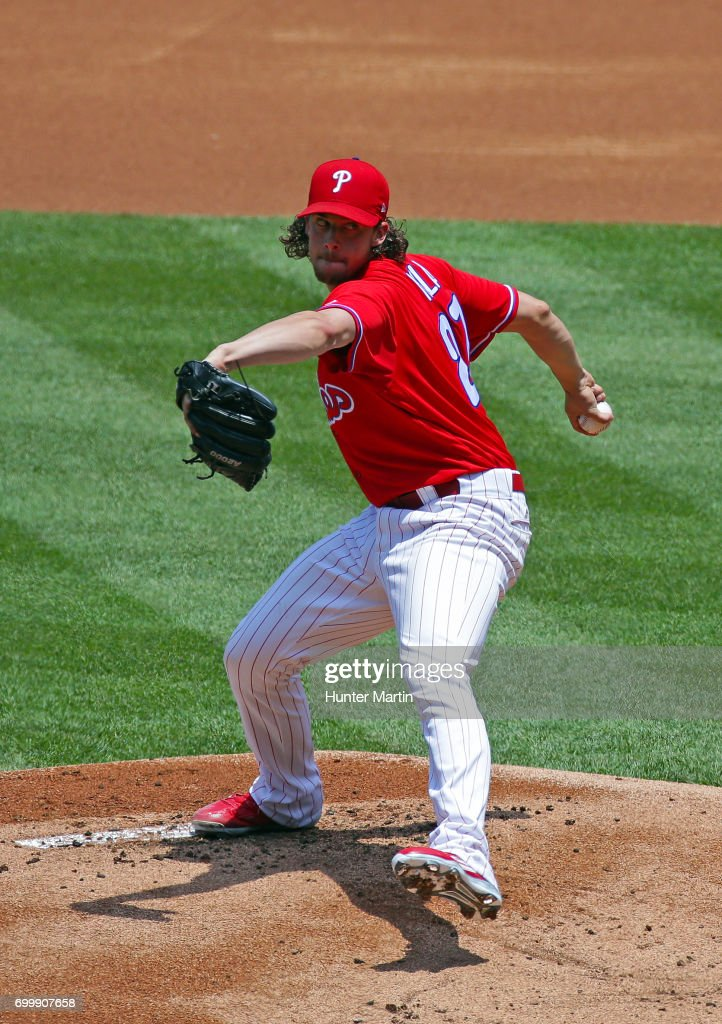 Starting pitcher Aaron Nola #27 of the Philadelphia Phillies throws a pitch in the first inning during a game against the St. Louis Cardinals at Citizens Bank Park on June 22, 2017 in Philadelphia, Pennsylvania.
