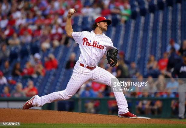Starting pitcher Aaron Nola of the Philadelphia Phillies throws a pitch in the first inning during a game against the Atlanta Braves at Citizens Bank...