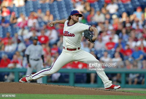Starting pitcher Aaron Nola of the Philadelphia Phillies throws a pitch in the second inning during a game against the Colorado Rockies at Citizens...