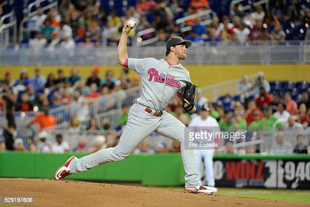 Starting Pitcher Aaron Nola of the Philadelphia Phillies throws a pitch during the 1st Inning of the game between the Philadelphia Phillies and Miami...