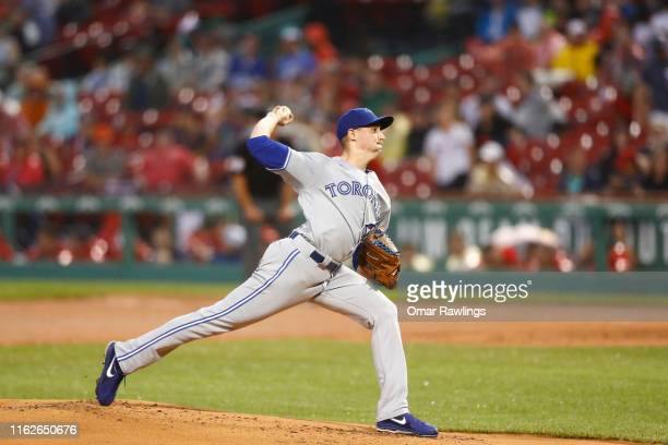 Starting pitcher Aaron Sanchez of the Toronto Blue Jays pitches in the bottom of the first inning of the game against the Boston Red Sox at Fenway...