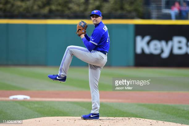 Starting pitcher Aaron Sanchez of the Toronto Blue Jays pitches during the first inning against the Cleveland Indians at Progressive Field on April...