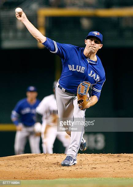 Starting pitcher Aaron Sanchez of the Toronto Blue Jays pitches against the Arizona Diamondbacks during the first inning of a MLB interleague game at...