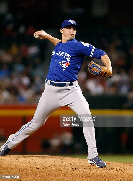 Starting pitcher Aaron Sanchez of the Toronto Blue Jays pitches against the Arizona Diamondbacks during the second inning of a MLB interleague game...