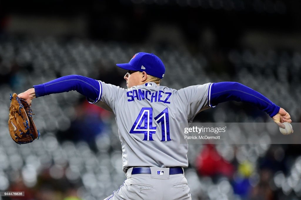 Starting pitcher Aaron Sanchez #41 of the Toronto Blue Jays pitches against the Baltimore Orioles in the seventh inning at Oriole Park at Camden Yards on April 10, 2018 in Baltimore, Maryland.