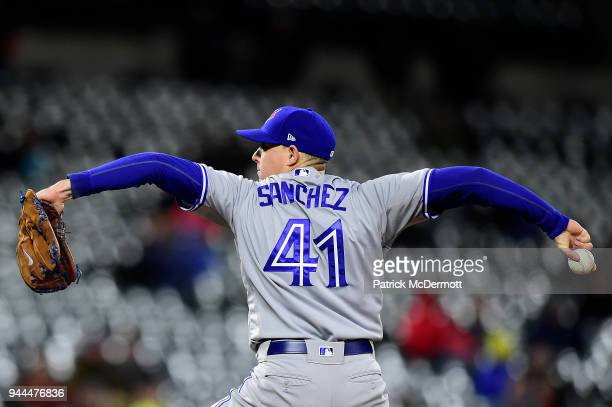Starting pitcher Aaron Sanchez of the Toronto Blue Jays pitches against the Baltimore Orioles in the seventh inning at Oriole Park at Camden Yards on...