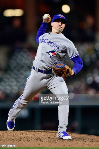 Starting pitcher Aaron Sanchez of the Toronto Blue Jays throws a pitch against the Baltimore Orioles in the third inning at Oriole Park at Camden...