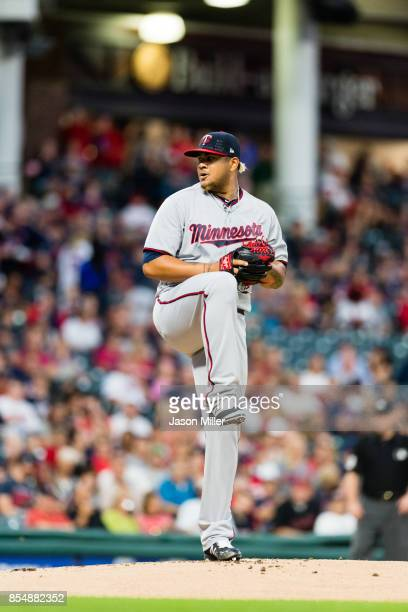 Starting pitcher Adalberto Mejia of the Minnesota Twins pitches during the first inning against the Cleveland Indians at Progressive Field on...