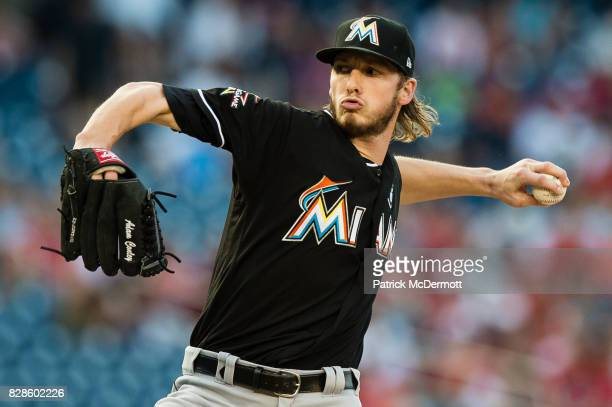 Starting pitcher Adam Conley of the Miami Marlins throws a pitch to a Washington Nationals batter in the first inning during a game at Nationals Park...