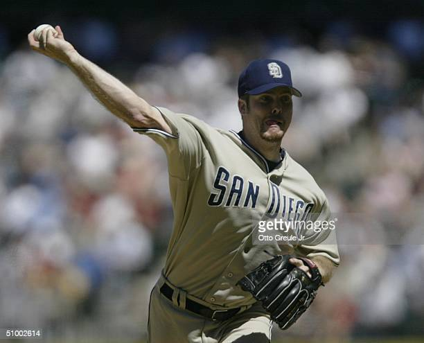 Starting pitcher Adam Eaton of the San Diego Padres pitches against the Seattle Mariners on June 27, 2004 at Safeco Field in Seattle, Washington.