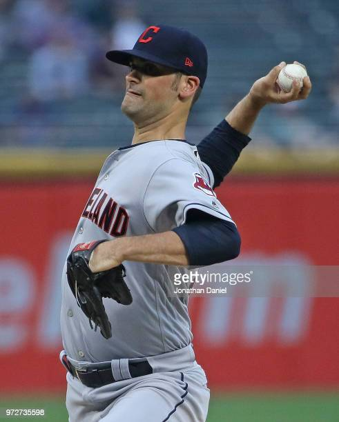 Starting pitcher Adam Plutko of the Cleveland Indians delivers the ball against the Chicago White Sox at Guaranteed Rate Field on June 12 2018 in...