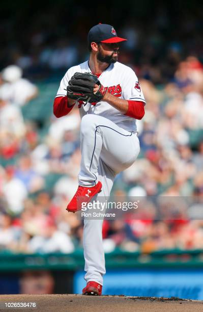Starting pitcher Adam Plutko of the Cleveland Indians pitches against the Kansas City Royals during the first inning at Progressive Field on...