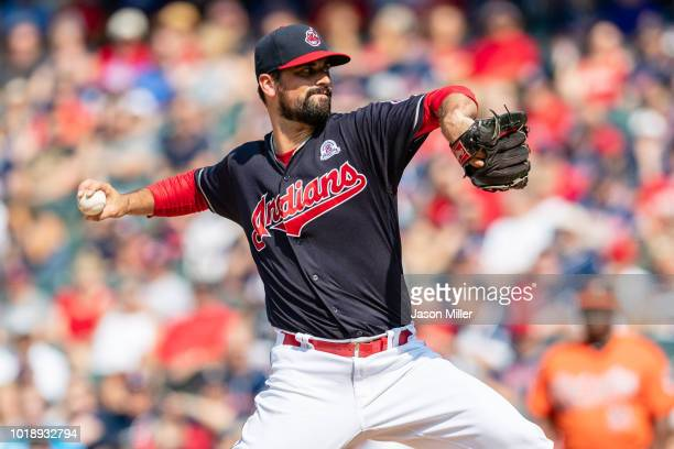 Starting pitcher Adam Plutko of the Cleveland Indians pitches during the first inning against the Baltimore Orioles at Progressive Field on August 18...