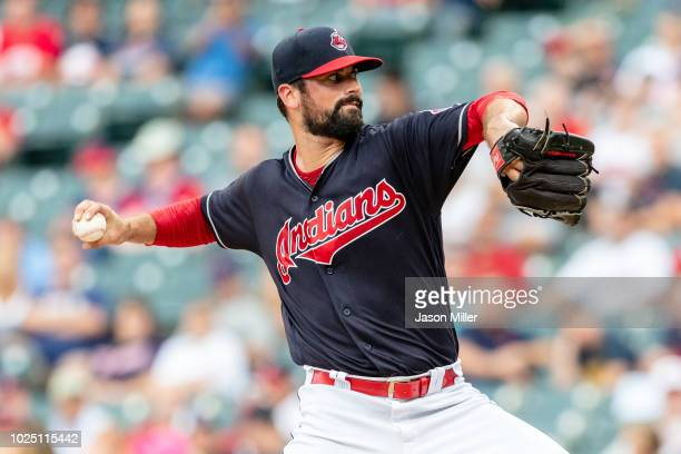 Starting pitcher Adam Plutko of the Cleveland Indians pitches during the first inning against the Minnesota Twins at Progressive Field on August 29...