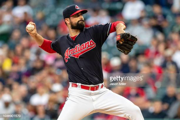 Starting pitcher Adam Plutko of the Cleveland Indians pitches during the first inning against the Boston Red Sox at Progressive Field on September 23...
