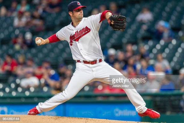 Starting pitcher Adam Plutko of the Cleveland Indians pitches during the first inning against the Toronto Blue Jays at Progressive Field on May 3...