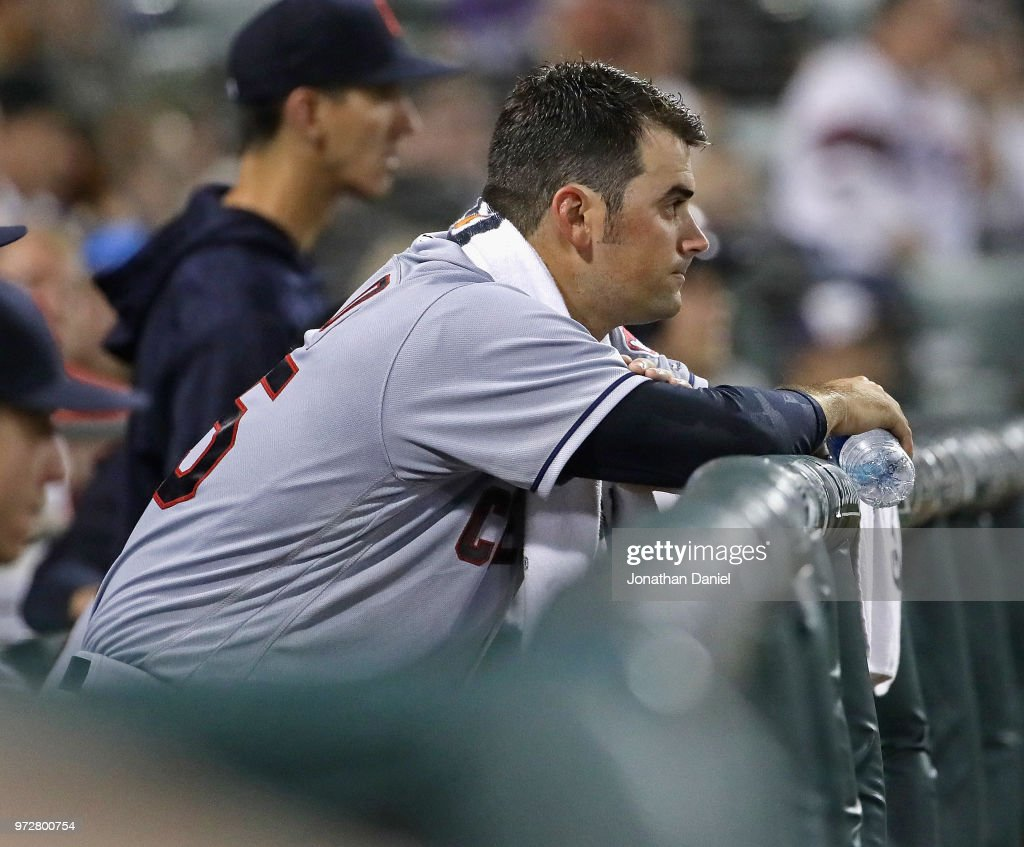 Starting pitcher Adam Plutko #45 of the Cleveland Indians watches from the bench after being taken out of the game in the 5th inning against the Chicago White Sox at Guaranteed Rate Field on June 12, 2018 in Chicago, Illinois.