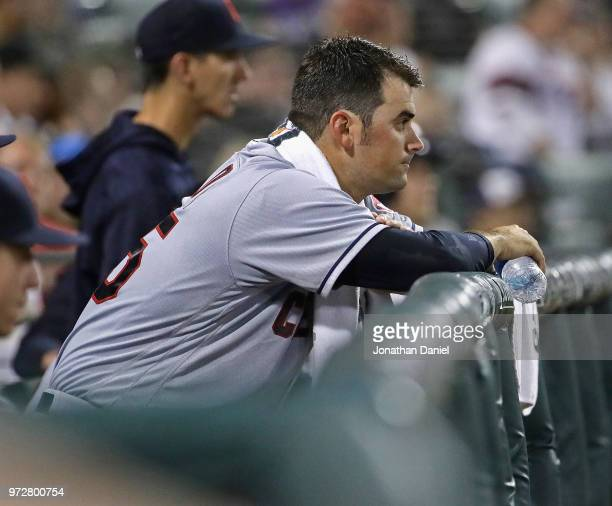 Starting pitcher Adam Plutko of the Cleveland Indians watches from the bench after being taken out of the game in the 5th inning against the Chicago...