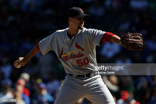 Starting pitcher Adam Wainwright of the St Louis Cardinals looking for his 20th win of the season pitches against the Chicago Cubs at Wrigley Field...