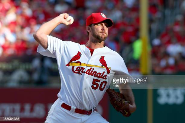 Starting pitcher Adam Wainwright of the St Louis Cardinals pitches in the first inning against the Pittsburgh Pirates during Game One of the National...
