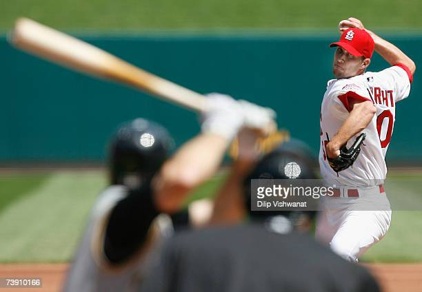 Starting pitcher Adam Wainwright of the St. Louis Cardinals throws against the Pittsburgh Pirates on April 17, 2007 at Busch Stadium in St. Louis,...