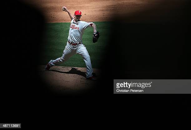Starting pitcher A.J. Burnett of the Philadelphia Phillies pitches against the Arizona Diamondbacks during the MLB game at Chase Field on April 27,...