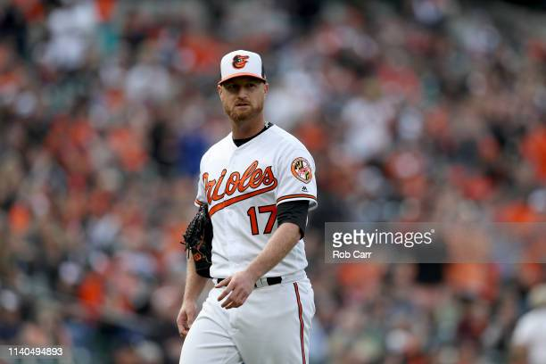 Starting pitcher Alex Cobb of the Baltimore Orioles leaves the game against the New York Yankees at Oriole Park at Camden Yards on April 04, 2019 in...