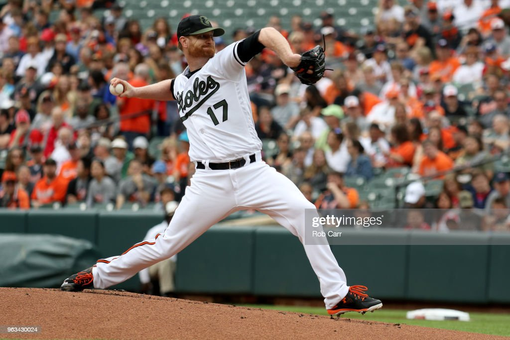 Starting pitcher Alex Cobb #17 of the Baltimore Orioles throws to a Washington Nationals batter in the first inning at Oriole Park at Camden Yards on May 28, 2018 in Baltimore, Maryland. MLB players across the league are wearing special uniforms to commemorate Memorial Day.