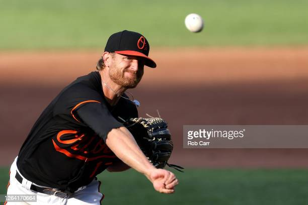 Starting pitcher Alex Cobb of the Baltimore Orioles throws to a Miami Marlins batter in the third inning during game one of a doubleheader at Oriole...