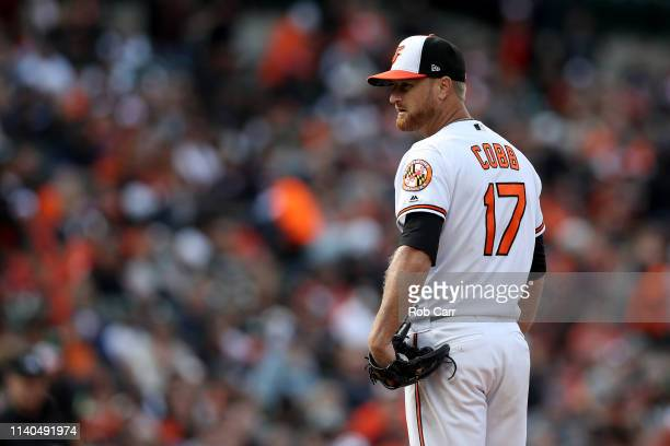 Starting pitcher Alex Cobb of the Baltimore Orioles throws to a New York Yankees batter in the fifth inning at Oriole Park at Camden Yards on April...