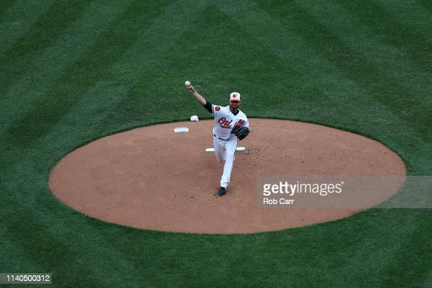 Starting pitcher Alex Cobb of the Baltimore Orioles throws to a New York Yankees batter in the first inning at Oriole Park at Camden Yards on April...
