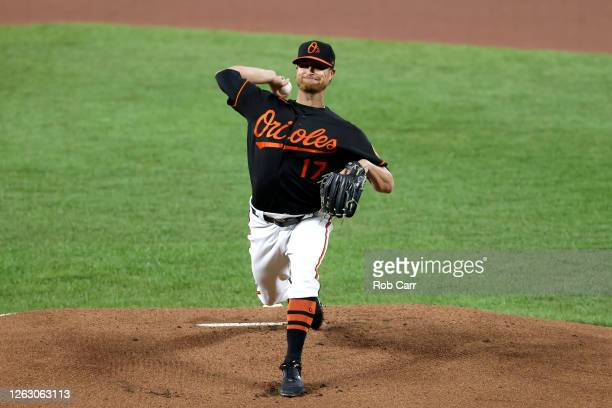 Starting pitcher Alex Cobb of the Baltimore Orioles throws to a Tampa Bay Rays batter in the first inning at Oriole Park at Camden Yards on July 31,...