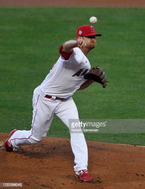 Starting pitcher Alex Cobb of the Los Angeles Angels throws against the Chicago White Sox during the first inning at Angel Stadium of Anaheim on...