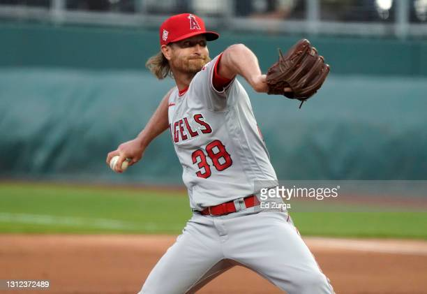 Starting pitcher Alex Cobb of the Los Angeles Angels throws in the first inning against the Kansas City Royals at Kauffman Stadium on April 12, 2021...