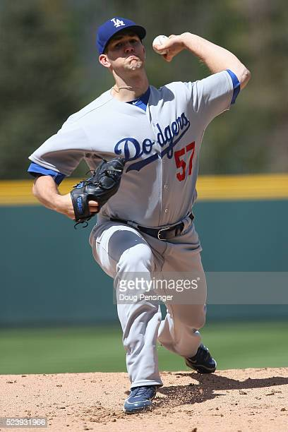 Starting pitcher Alex Wood of the Los Angeles Dodgers delivers against the Colorado Rockies at Coors Field on April 24 2016 in Denver Colorado The...