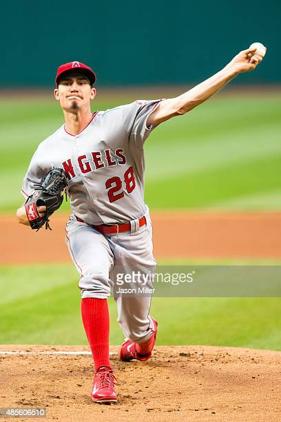 Starting pitcher Andrew Heaney of the Los Angeles Angels of Anaheim pitches during the first inning against the Cleveland Indians at Progressive...