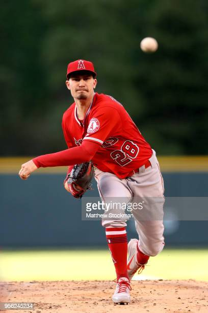 Starting pitcher Andrew Heaney of the Los Angeles Angels of Anaheim throws in the first inning against the Colorado Rockies at Coors Field on May 8...