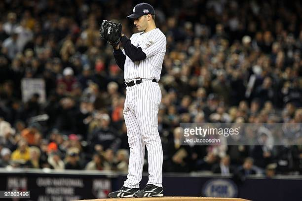 Starting pitcher Andy Pettitte of the New York Yankees gets set to throw a pitch against the Philadelphia Phillies in Game Six of the 2009 MLB World...
