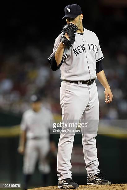Starting pitcher Andy Pettitte of the New York Yankees pitches against the Arizona Diamondbacks during the Major League Baseball game at Chase Field...