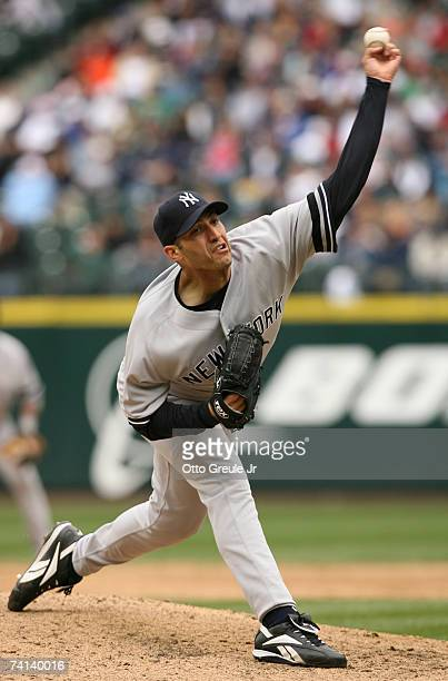 Starting pitcher Andy Pettitte of the New York Yankees pitches against the Seattle Mariners on May 13 2007 at Safeco Field in Seattle Washington The...