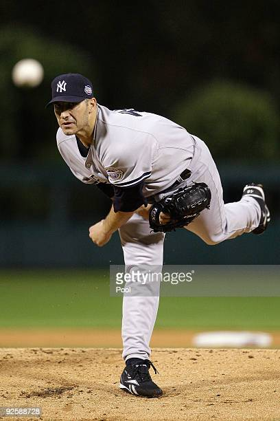 Starting pitcher Andy Pettitte of the New York Yankees pitches against the Philadelphia Phillies in Game Three of the 2009 MLB World Series at...