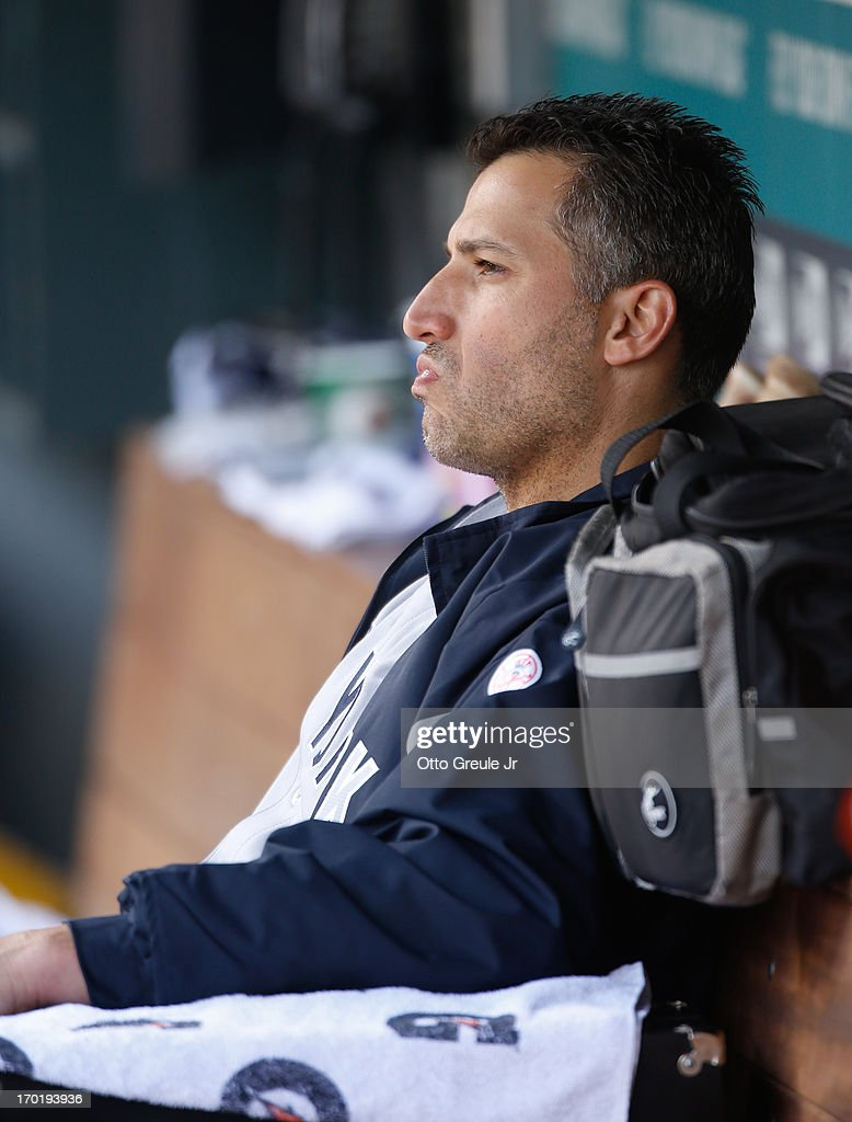 Starting pitcher Andy Pettitte #46 of the New York Yankees sits on the bench after coming out of the game in the eighth inning against the Seattle Mariners at Safeco Field on June 8, 2013 in Seattle, Washington. The Yankees defeated the Mariners 3-1.