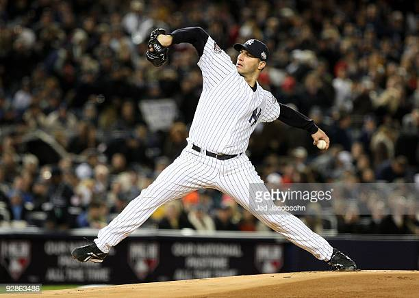 Starting pitcher Andy Pettitte of the New York Yankees throws a pitch against the Philadelphia Phillies in Game Six of the 2009 MLB World Series at...
