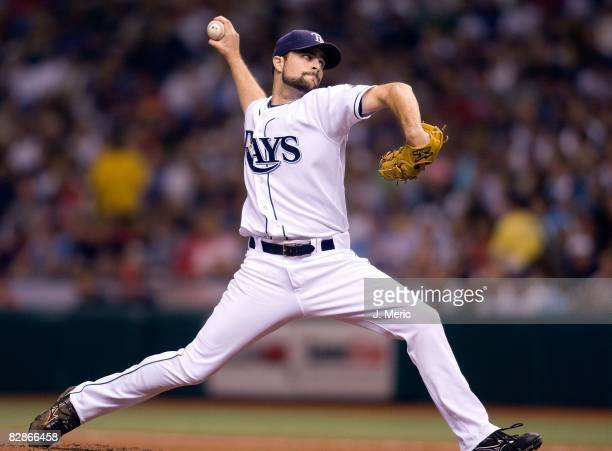 Starting pitcher Andy Sonnanstine of the Tampa Bay Rays pitches against the Boston Red Sox during the game on September 16, 2008 at Tropicana Field...