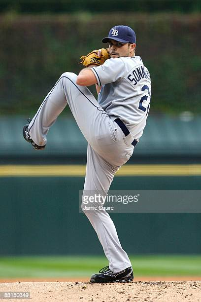 Starting pitcher Andy Sonnanstine of the Tampa Bay Rays throws a pitch against the Chicago White Sox in Game Four of the ALDS during the 2008 MLB...