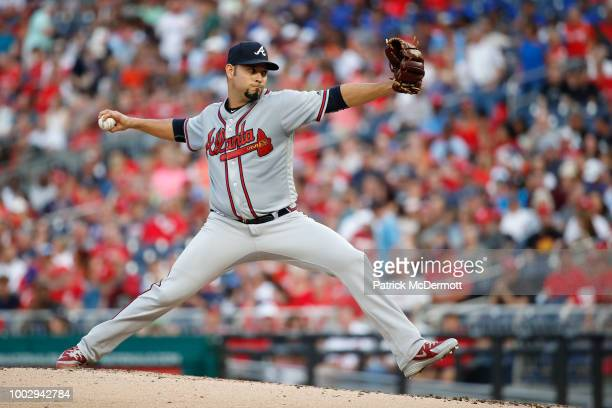 Starting pitcher Anibal Sanchez of the Atlanta Braves pitches in the second inning against the Washington Nationals at Nationals Park on July 20 2018...