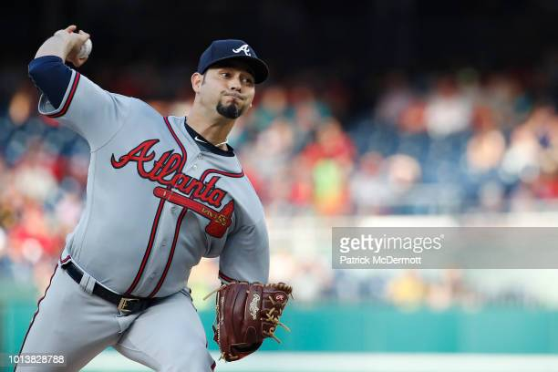 Starting pitcher Anibal Sanchez of the Atlanta Braves pitches in the first inning against the Washington Nationals at Nationals Park on July 20 2018...